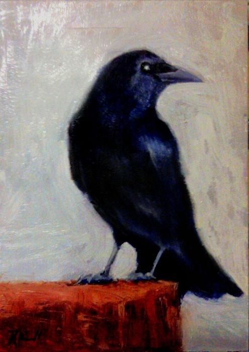 """A Raven on a Stump"" original fine art by Bob Kimball"