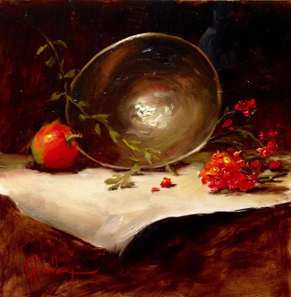 """Brass Bowl with Stem"" original fine art by Dorothy Woolbright"