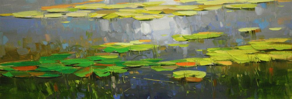 """Water Lilies pond Original oil Painting One of a Kind"" original fine art by V Y"