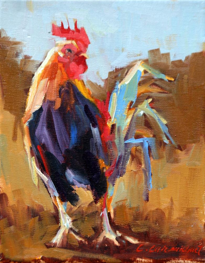 """revamped rooster"" original fine art by Carol Carmichael"
