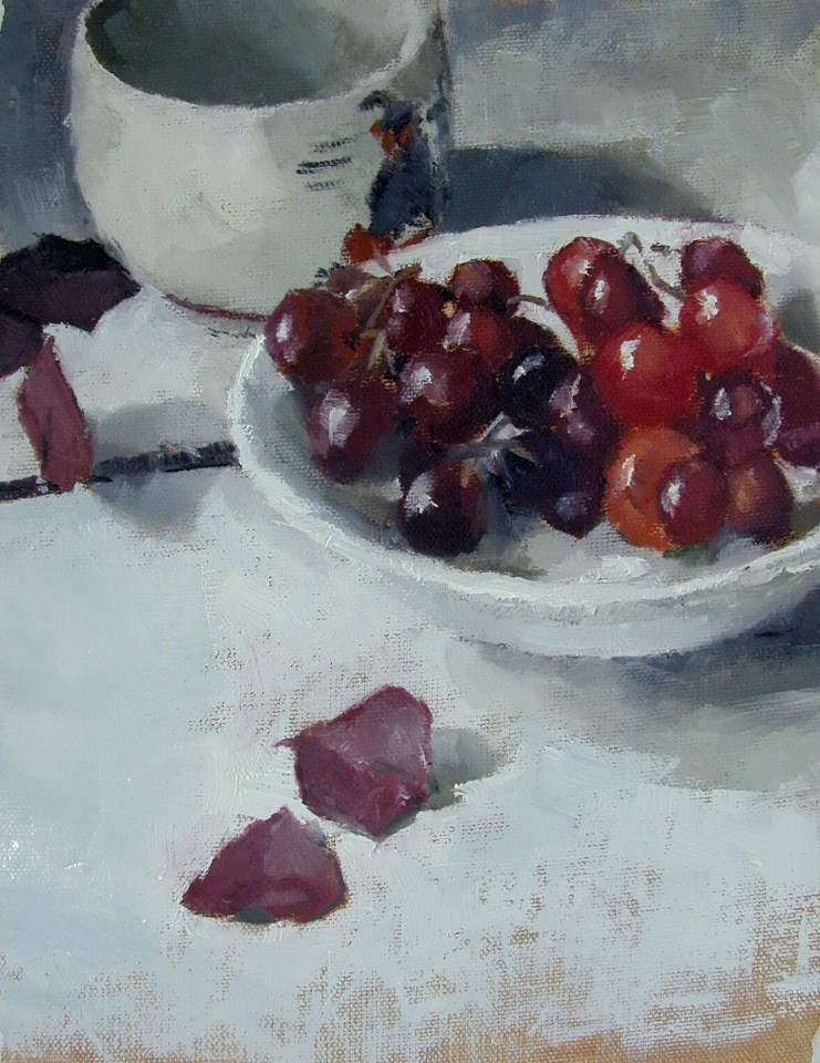 """Bowl of Grapes"" original fine art by Richard Jones"