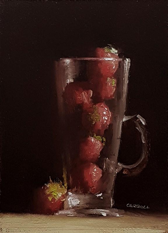 """Coffee Cup of Strawberries"" original fine art by Neil Carroll"