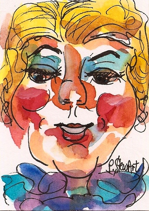 """ACEO, Mrs Suburbia Caricature Miniature Portrait Watercolor and Linerwork"" original fine art by Penny Lee StewArt"