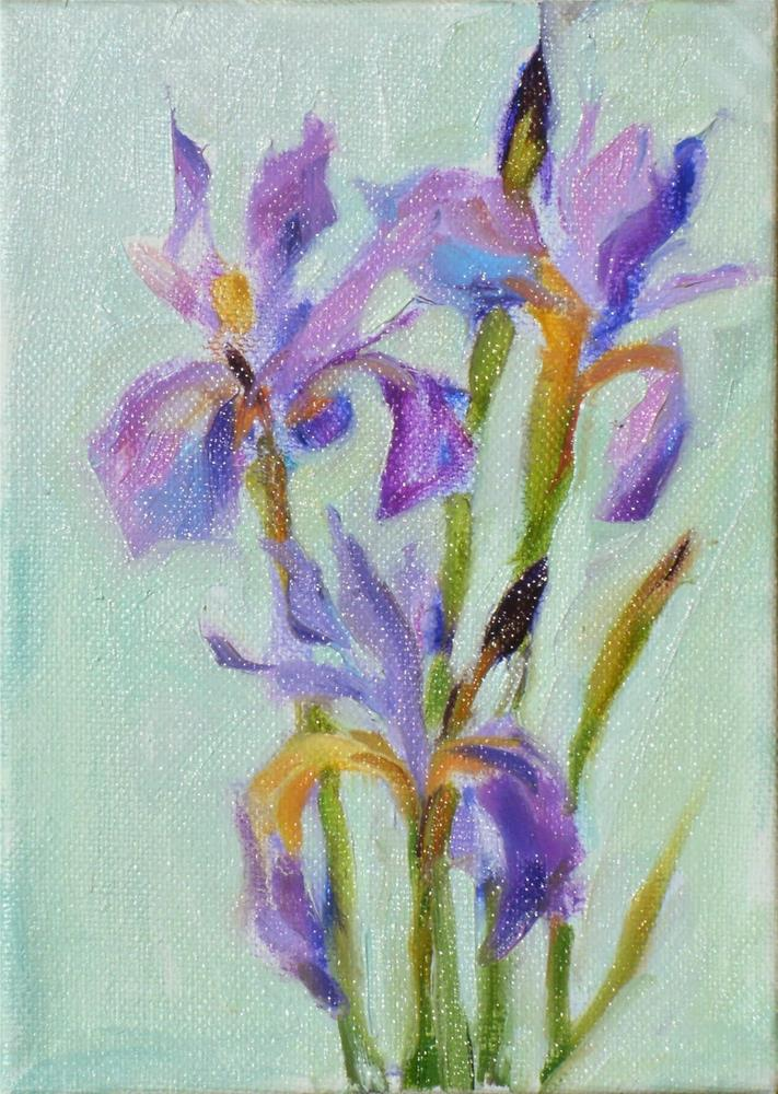 """First Iris of Spring,still life,oil on canvas,7x5,price$200"" original fine art by Joy Olney"