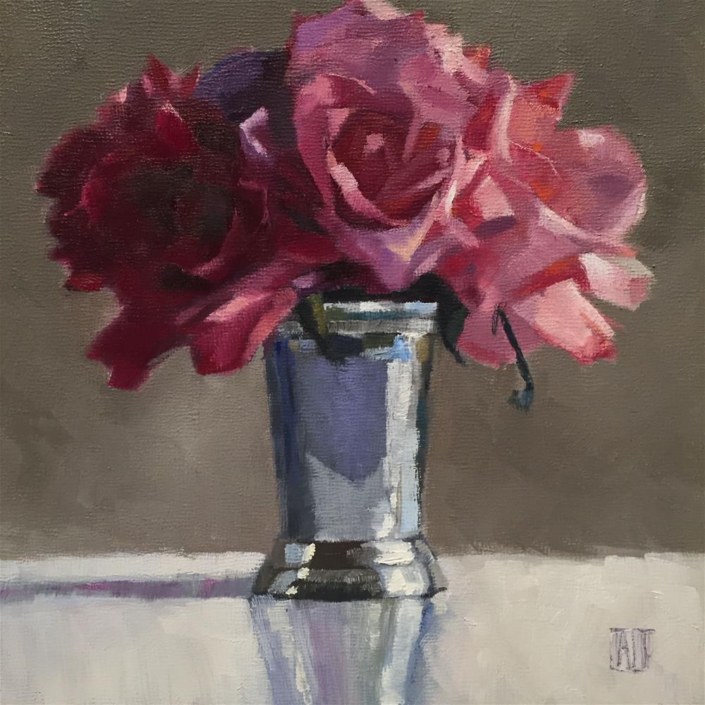 """pink roses in silver cup"" original fine art by Amy Irwin Tank"