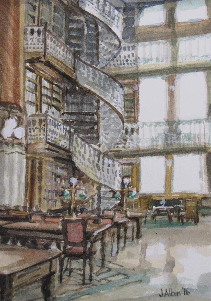 """Iowa State Capitol Law Library"" original fine art by Jane Albin"