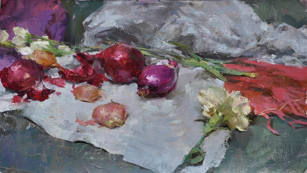 """still  life with onions"" original fine art by Taisia Kuklina"