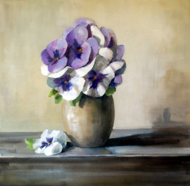 """Purple and White Pansies"" original fine art by Christina Dowdy"