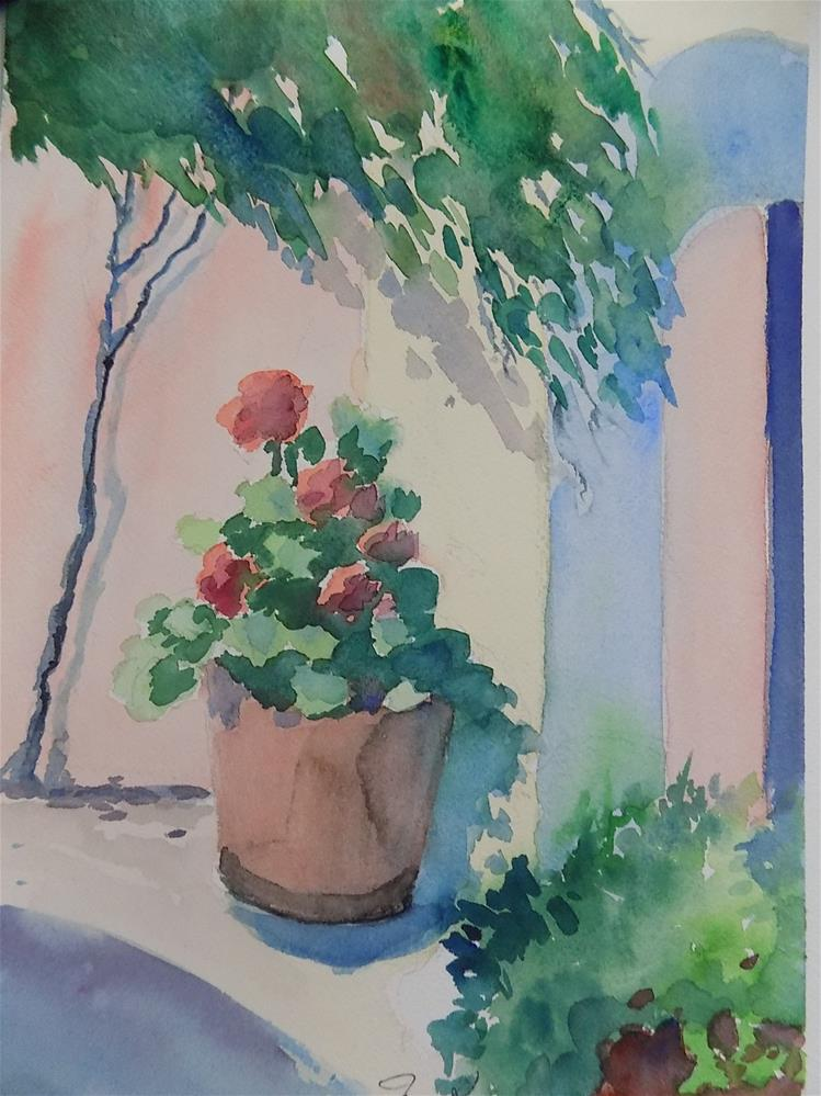 """Geraniums #6"" original fine art by Joan Reive"