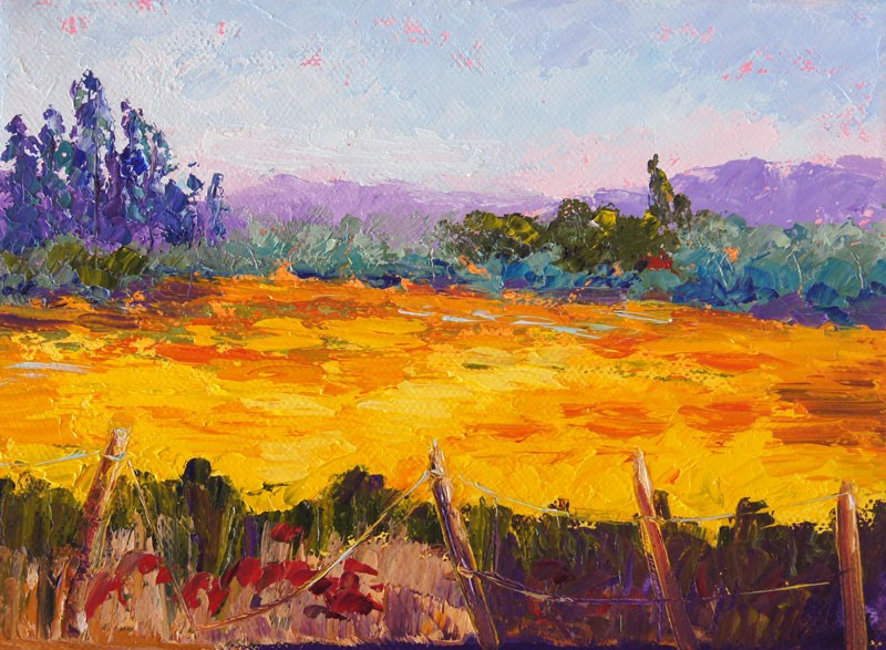 """Fields of Gold palette knife painting"" original fine art by Marion Hedger"