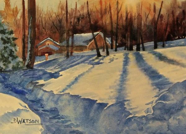 """Dawn Shadows On Snow"" original fine art by Deb Watson"