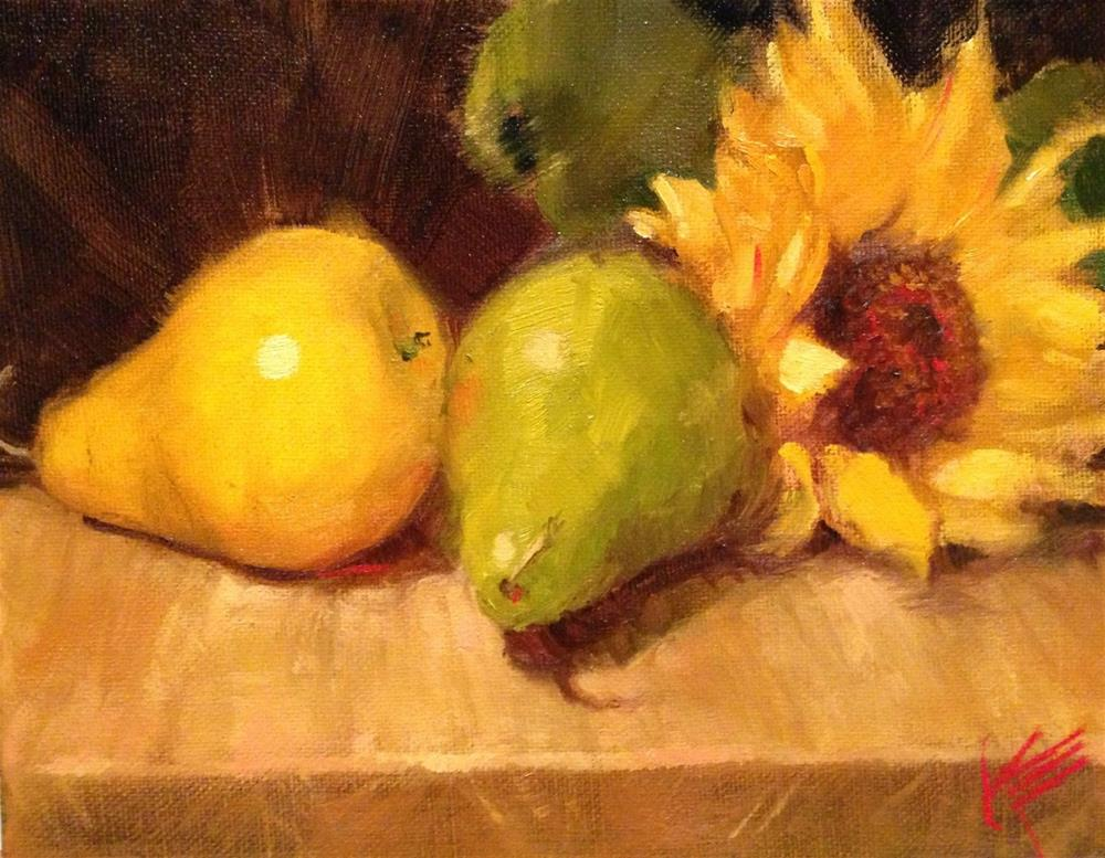 """Sunflower and pears"" original fine art by Krista Eaton"