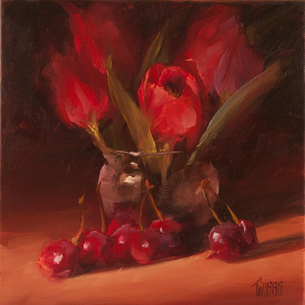 """Tulips and Cherries"" original fine art by Lori Twiggs"
