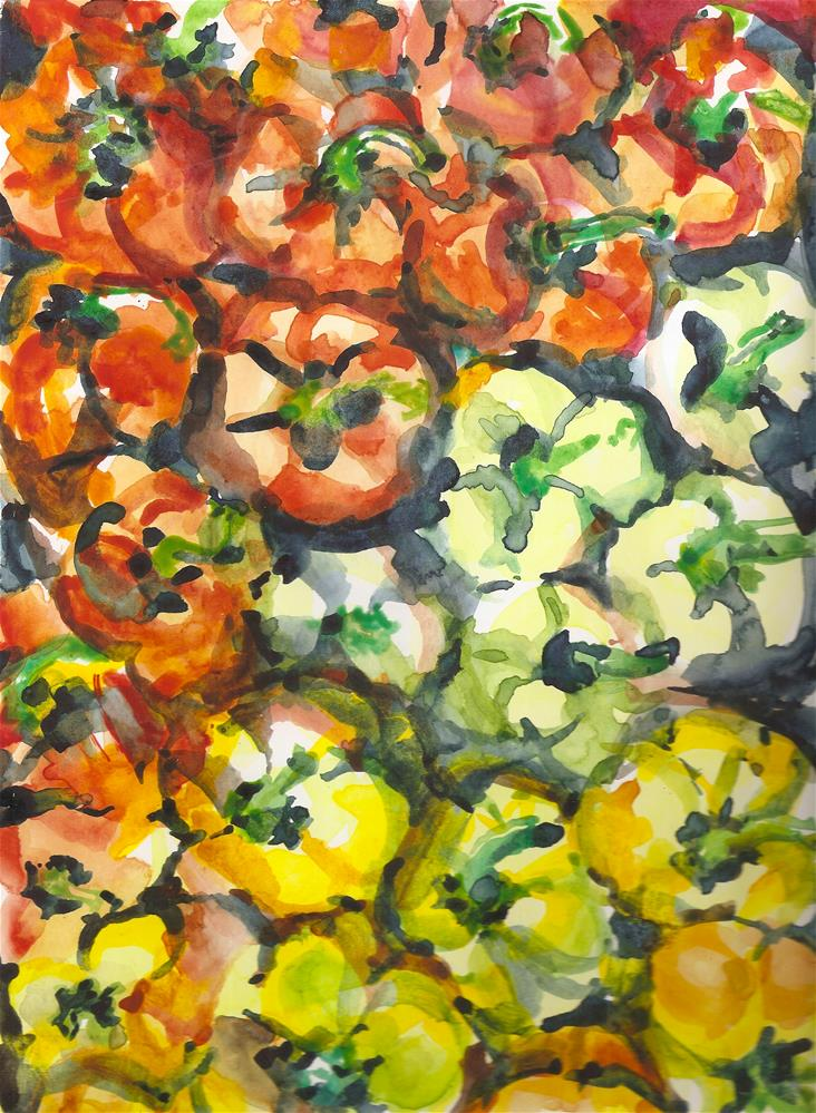 """Peppers, Red, Green and Yellow"" original fine art by Jean Krueger"
