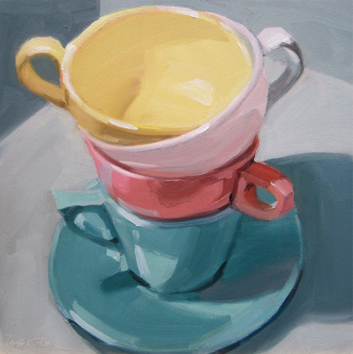 """""""Stacked Colored Cups II"""" original fine art by Robin Rosenthal"""