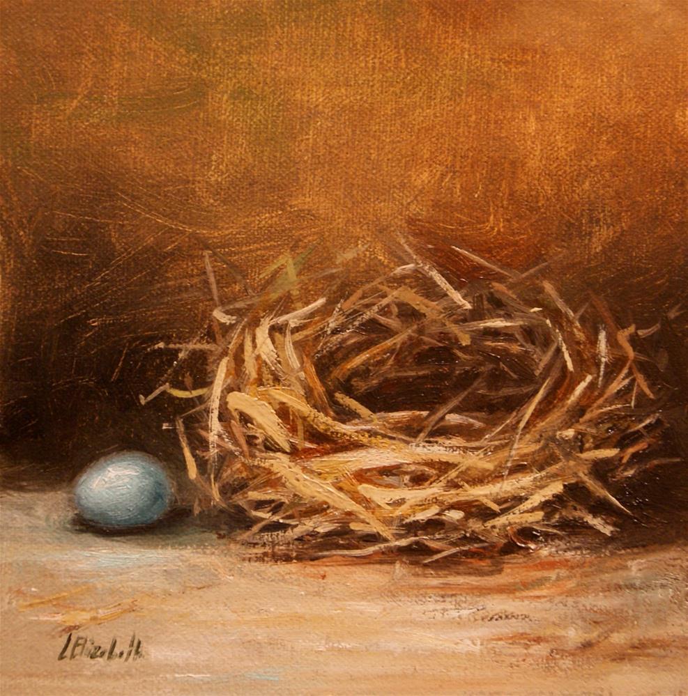 """Nest with Robin's Egg, 6x6 Oil on linen Panel"" original fine art by Carolina Elizabeth"