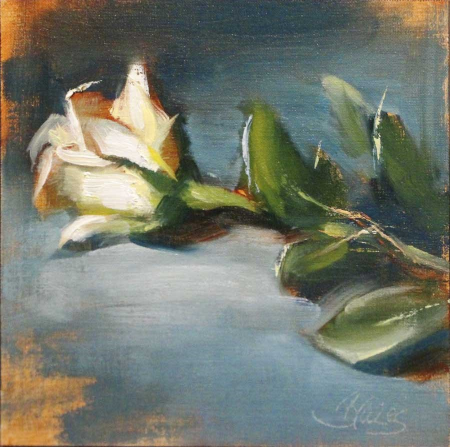 """White Rose on Blue"" original fine art by Pamela Blaies"