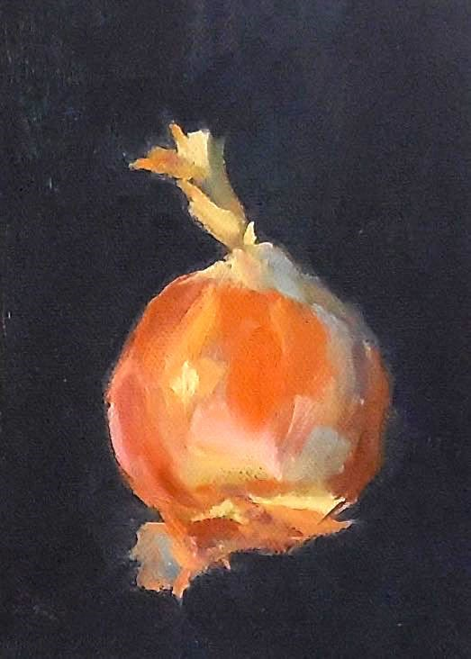 """Onion, 5x7 Oil on Canvas Still Life"" original fine art by Carmen Beecher"