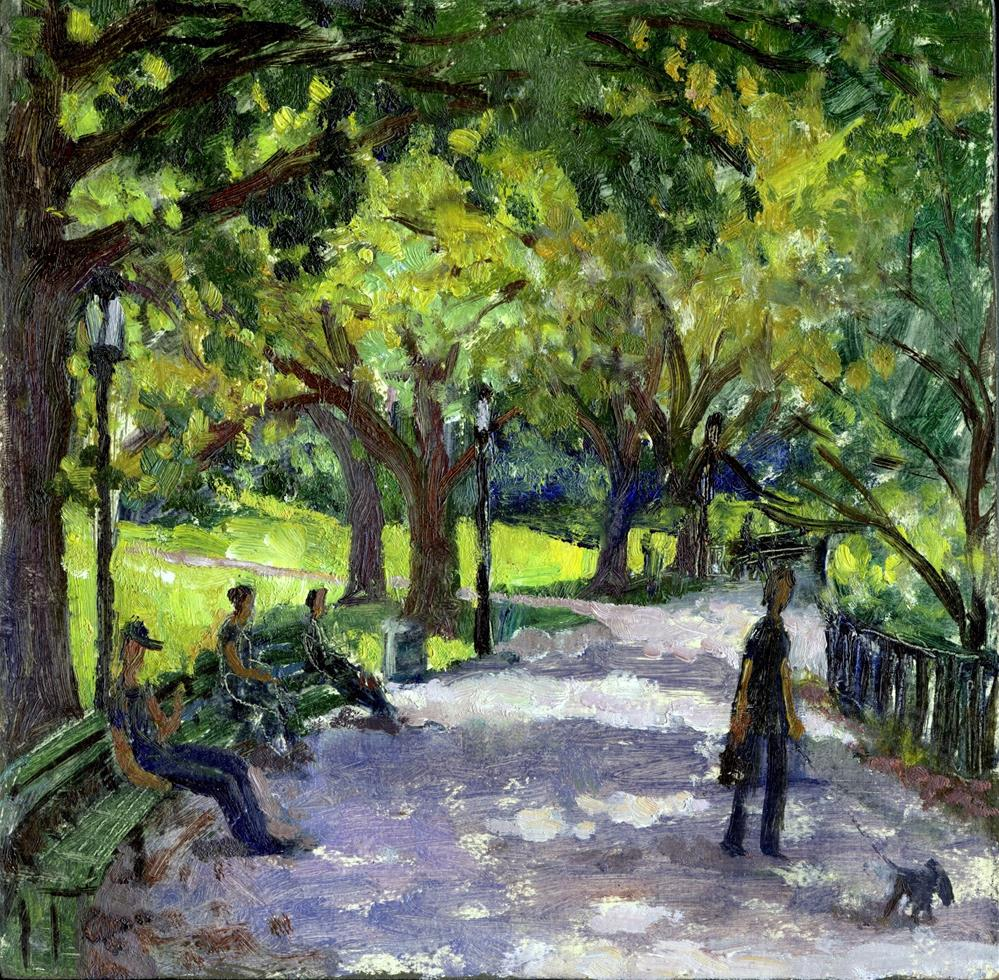 """ A Shady Path, Inwood Hill Park, NYC"" original fine art by Thor Wickstrom"