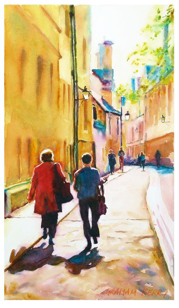 """Walking in Oxford"" original fine art by Graham Berry"