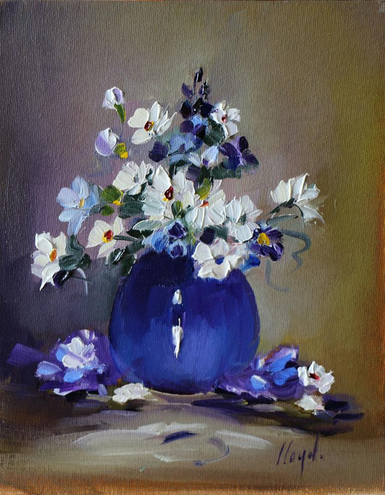 """Blue Porcelain Vase"" original fine art by Diane Lloyd"