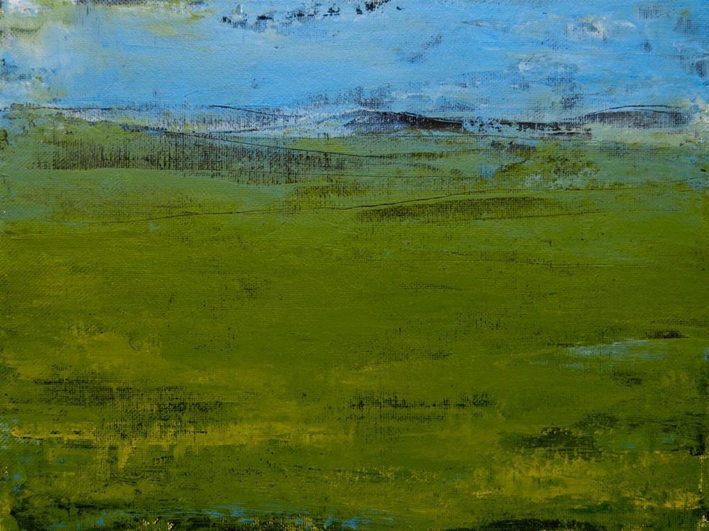"""Green Pastures - float framed"" original fine art by Jani Freimann"