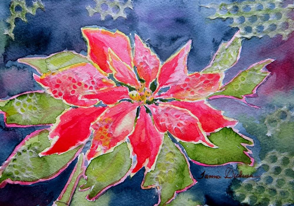 """Single Poinsettia"" original fine art by Tammie Dickerson"