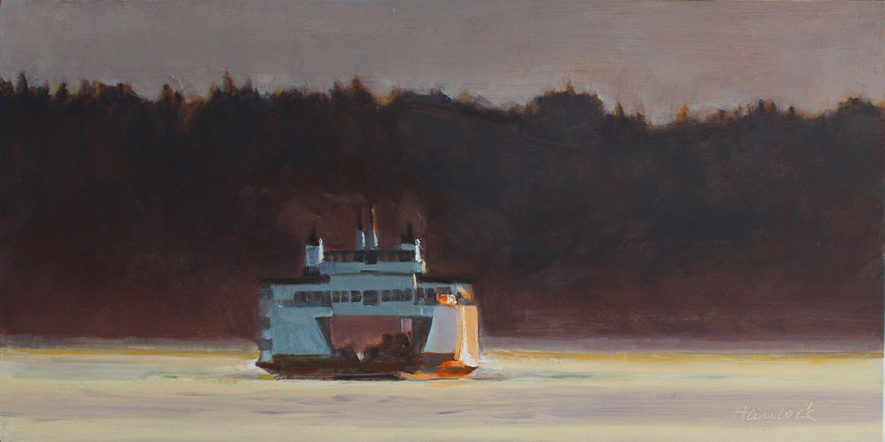 """Evening Ferry with Velvet Hill"" original fine art by Gretchen Hancock"