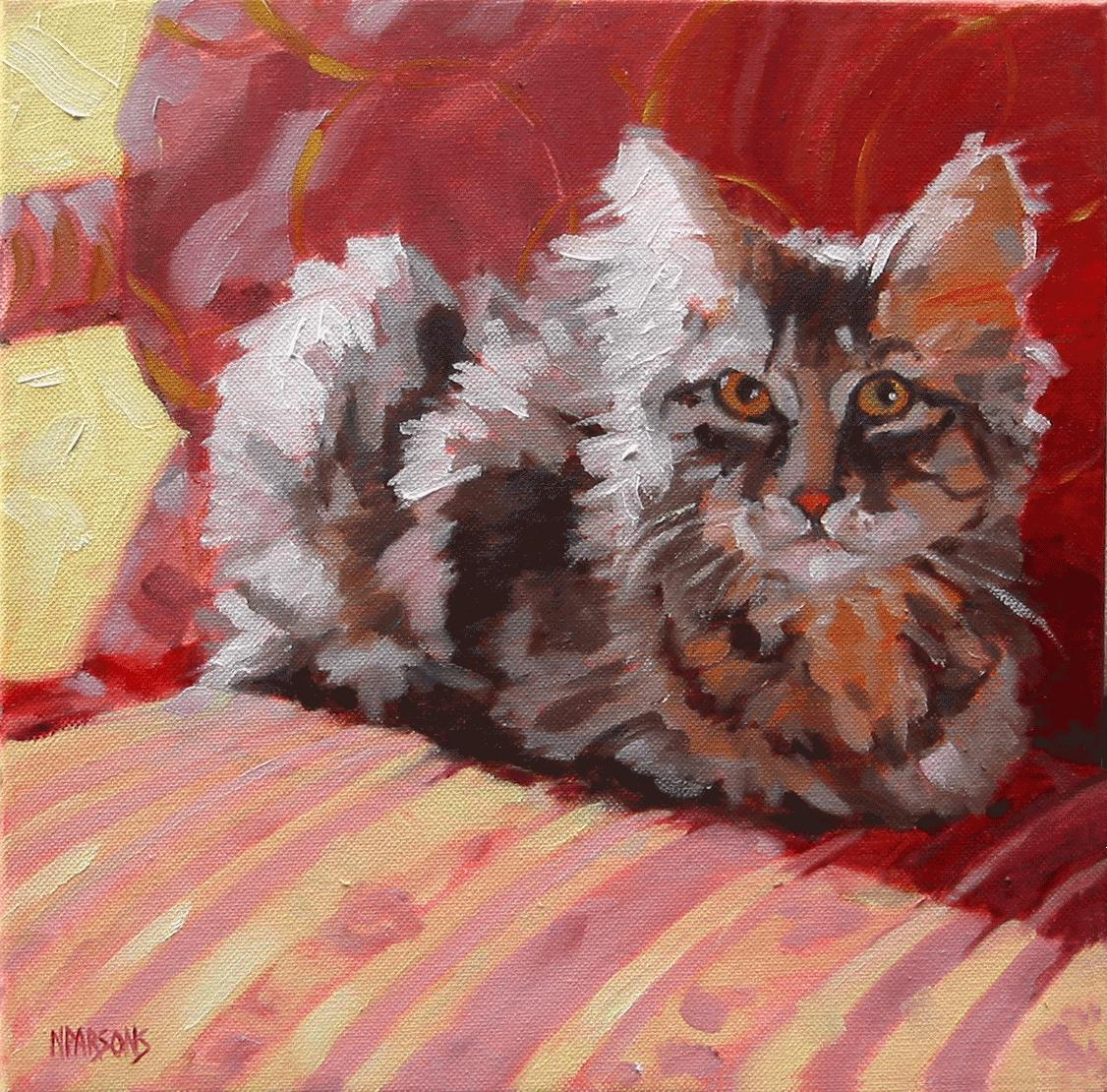 """SOLD-Sitt'n Purrfect"" original fine art by Nancy Parsons"