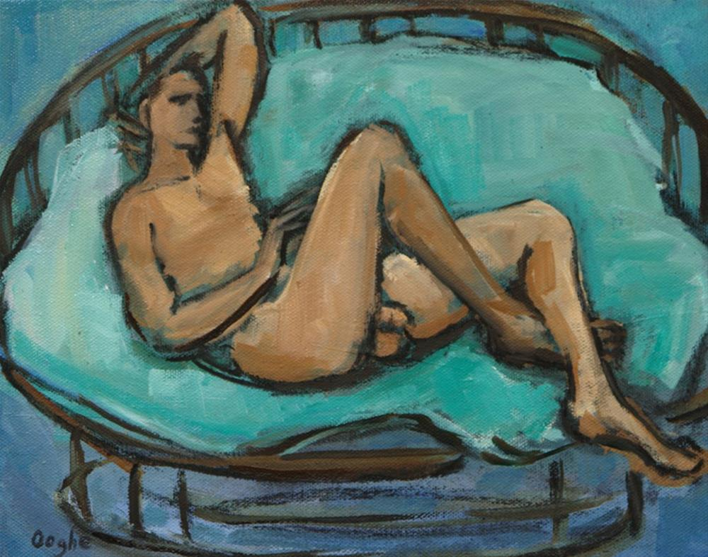 """Nude on Rattan Chair"" original fine art by Angela Ooghe"