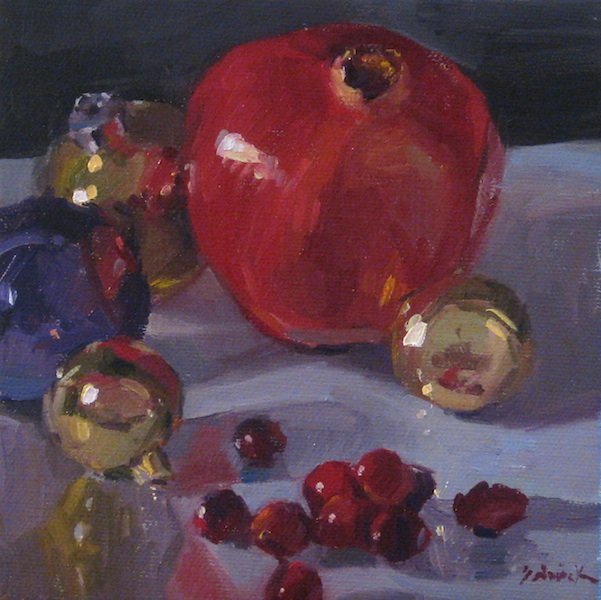 """Red Fruit and Ornaments"" original fine art by Sarah Sedwick"