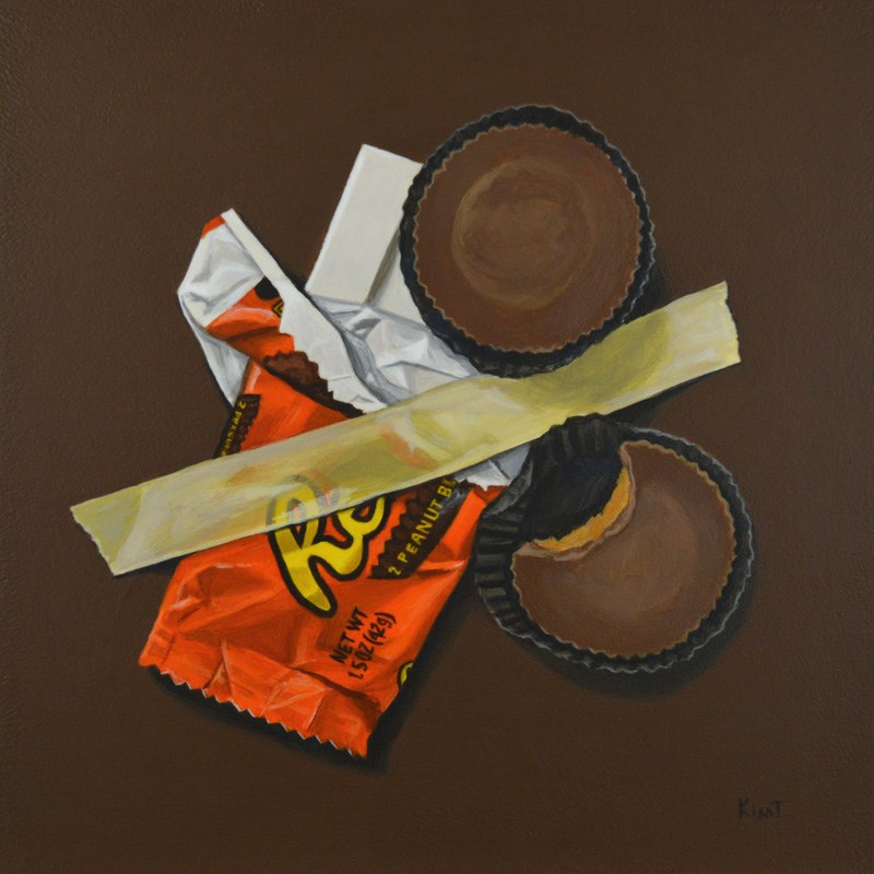 """Reese's Peanut Butter Cups (Emergency Stash)"" original fine art by Kim Testone"