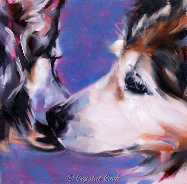 """Puppy Kisses"" original fine art by Crystal Cook"