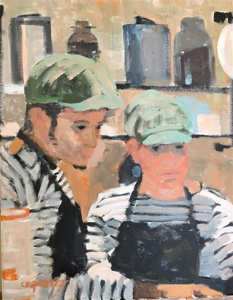 """Baristas at Coffee Shop"" original fine art by Christine Parker"