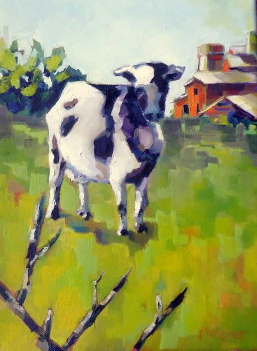 """Moo"" original fine art by Laurie Mueller"