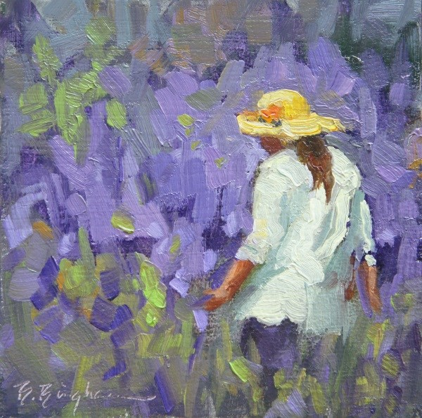 """Walking in Lavender"" original fine art by Bruce Bingham"
