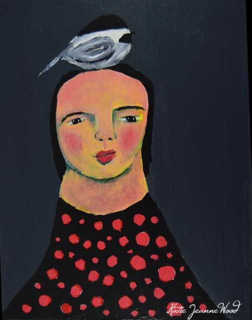 """Birdy on her head No 10"" original fine art by Katie Jeanne Wood"