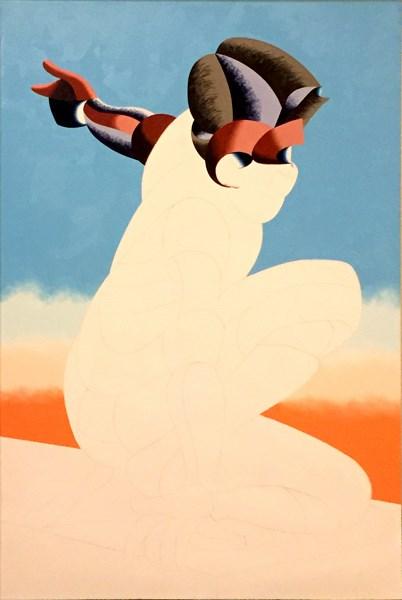 """Mark Webster Artist - Progress on Bennett 10-23 - Abstract Geometric Futurist Figurative Oil Paintin"" original fine art by Mark Webster"