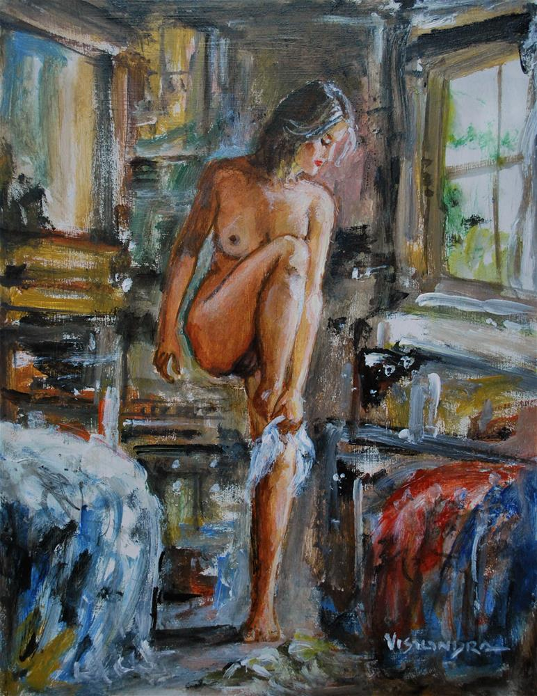 """Girl undressing"" original fine art by vishalandra dakur"