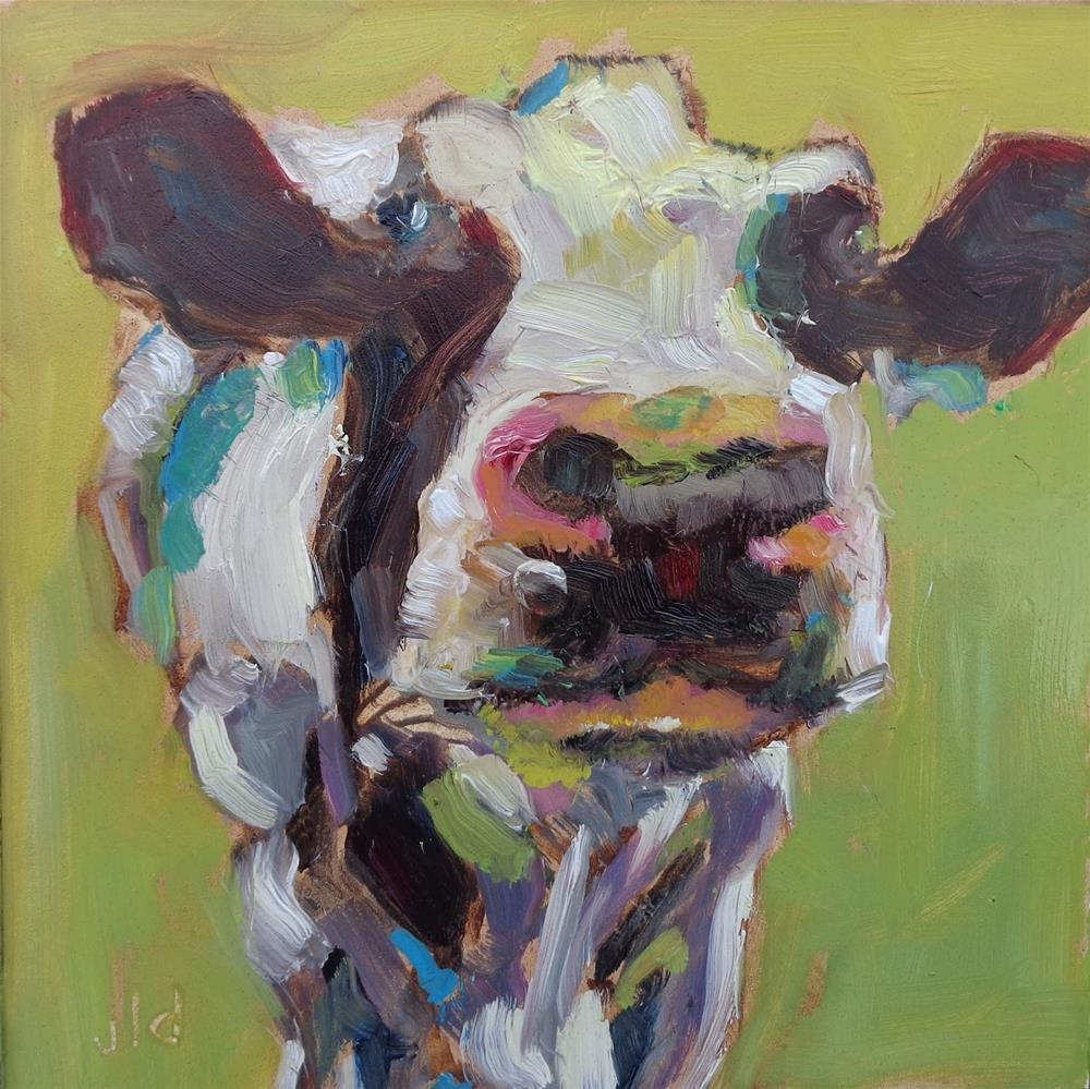 """Cow 51 Call me curvy"" original fine art by Jean Delaney"