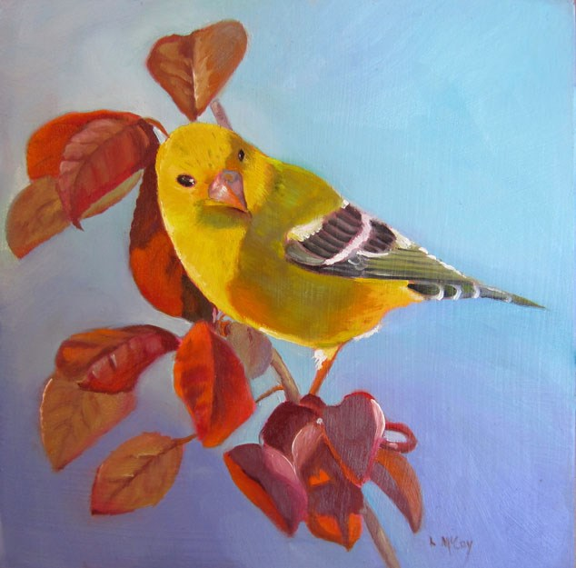 """Female Finch, Oil by Linda McCoy"" original fine art by Linda McCoy"