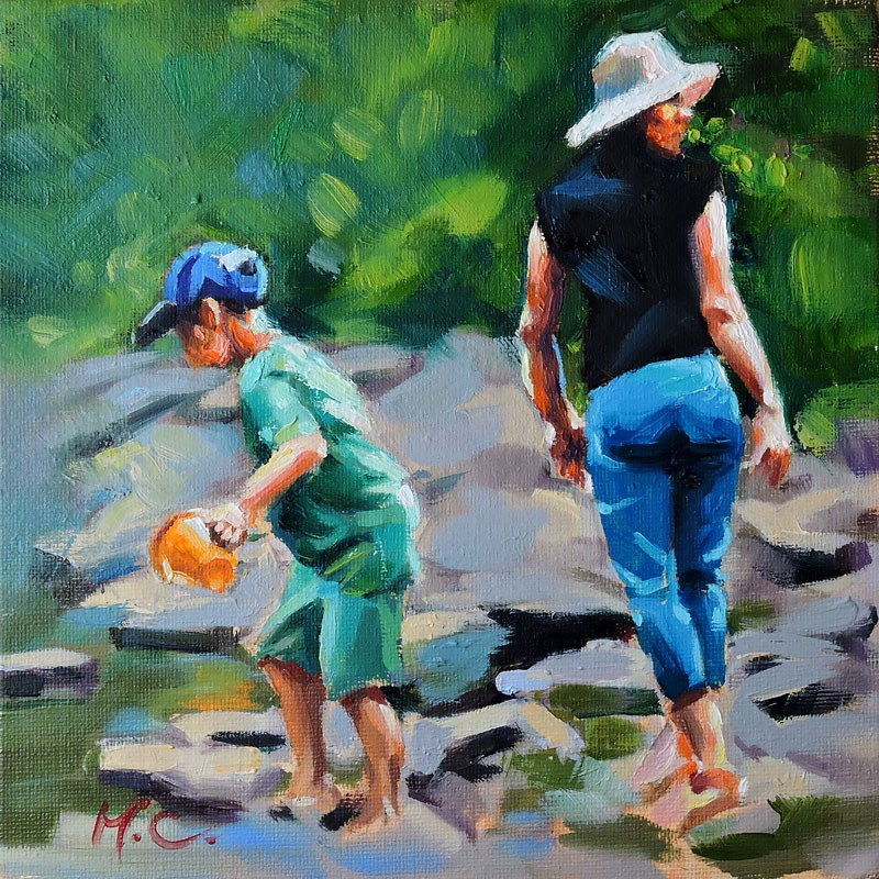 """""""Mom and Son"""" original fine art by Michelle chen"""