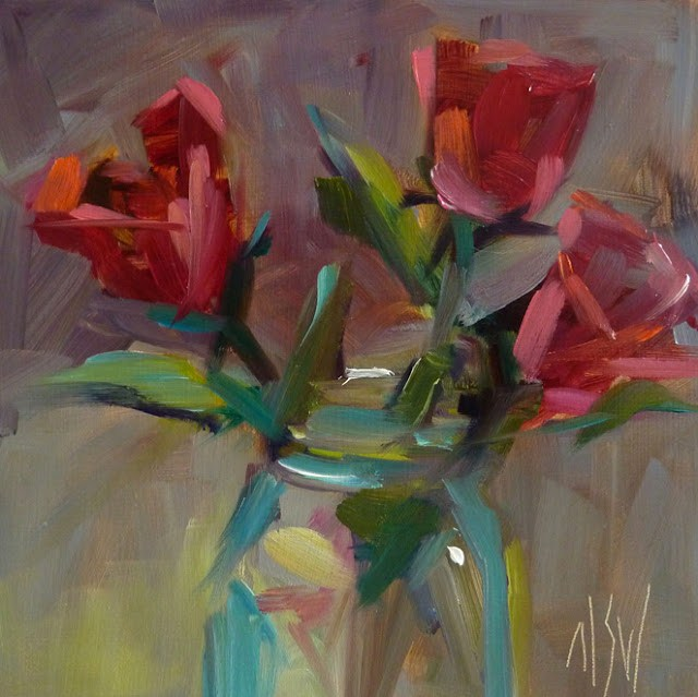 """Tropical Roses 6x6 oil on panel. This is the Girls Just Wanna Paint challenge for February"" original fine art by Mary Sheehan Winn"