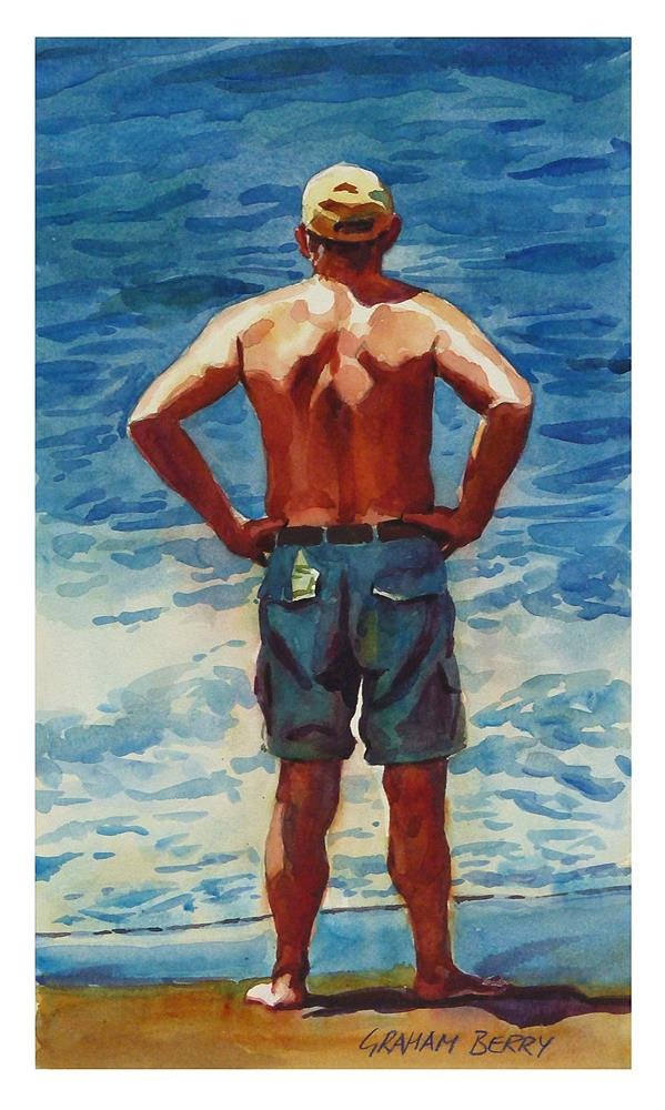 """Man looking out to sea"" original fine art by Graham Berry"