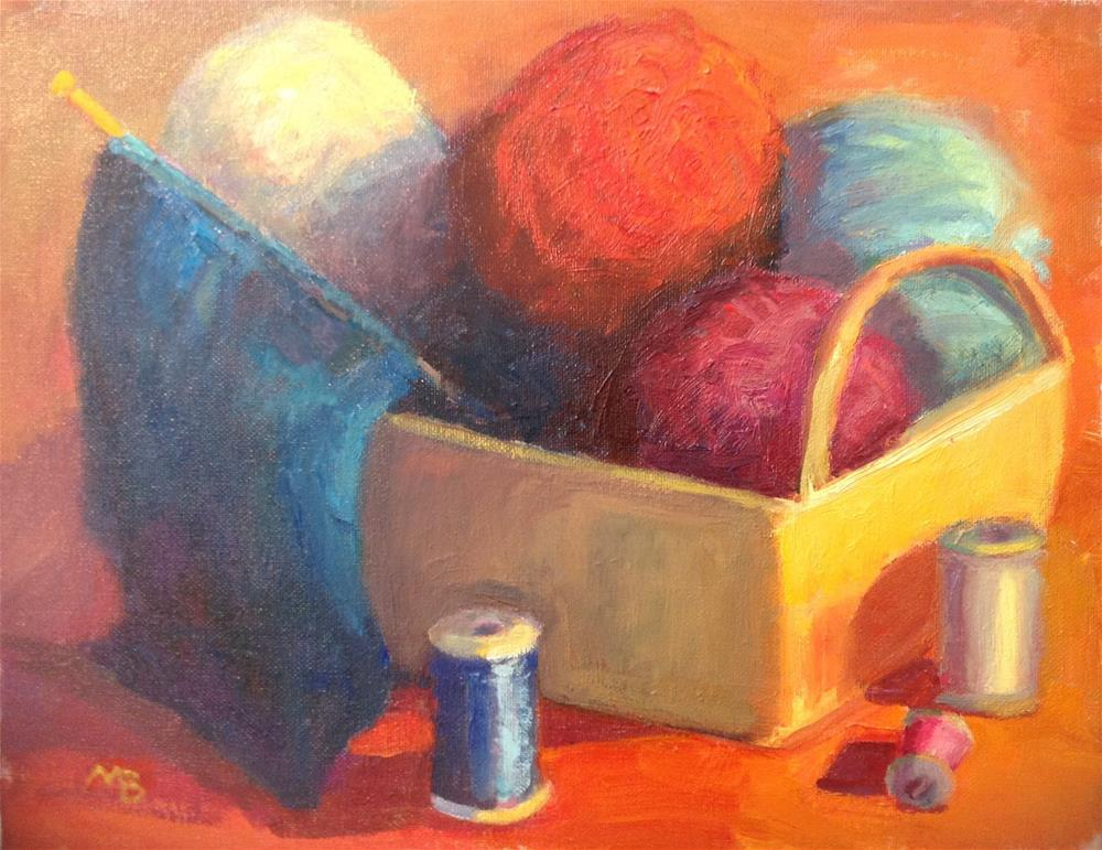 """Mom's Knitting Basket"" original fine art by Marcia Bergtholdt"