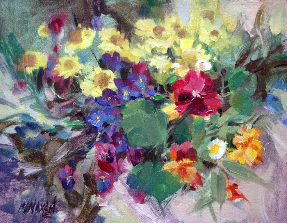 """Flower Tangle - a small, colorful, floral still life"" original fine art by Mary Maxam"