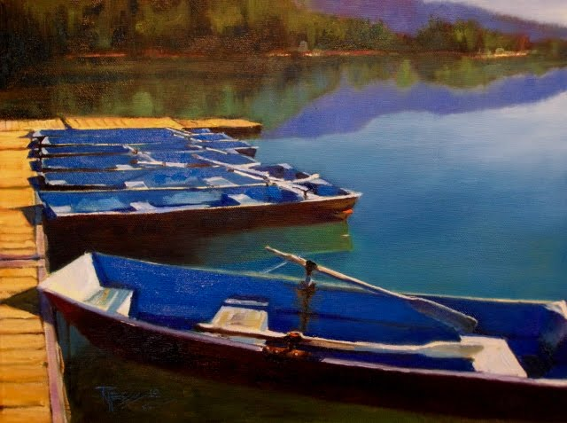 """Row Boats on Clear Lake oil landscape painting, White Pass, Washington"" original fine art by Robin Weiss"
