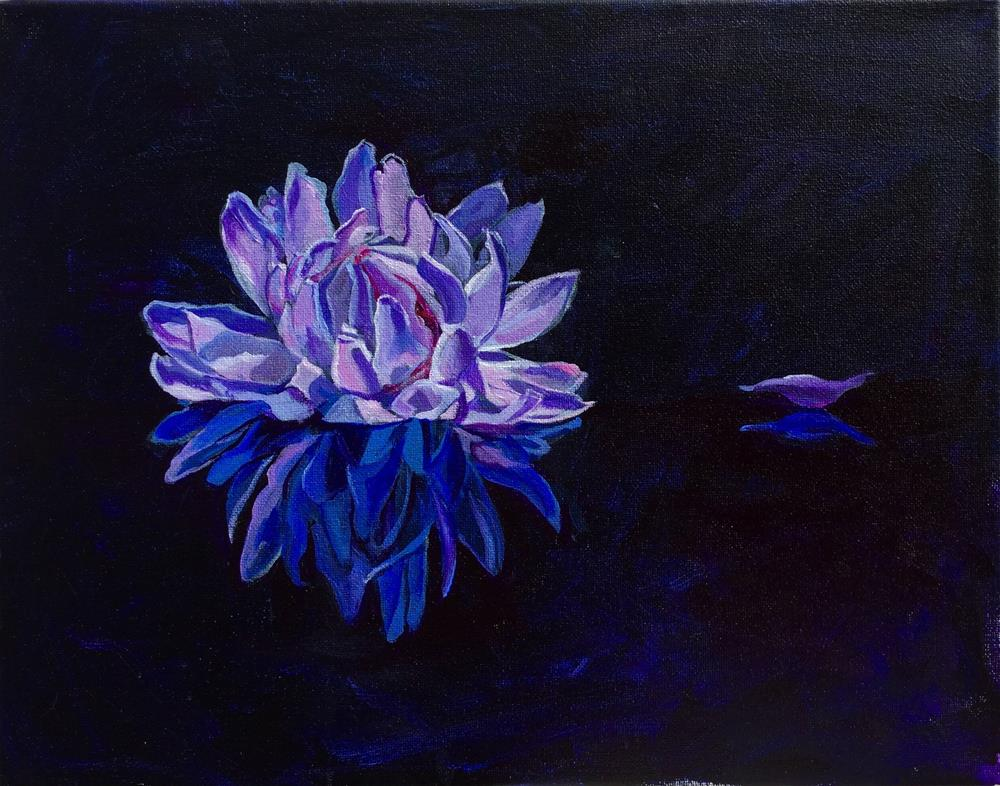 """Purple Dahlia"" original fine art by Lauren Kuhn"