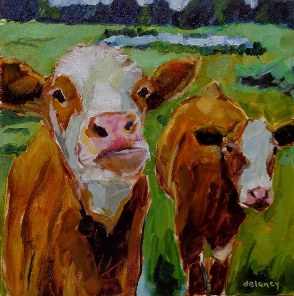 """Cow 132 ME AND MY SHADOW"" original fine art by Jean Delaney"