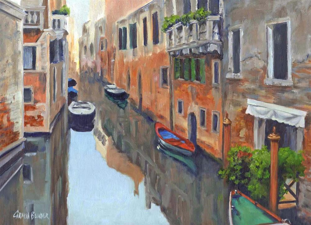 """Reflections of Venice, 14x11, Oil on Canvas"" original fine art by Carmen Beecher"